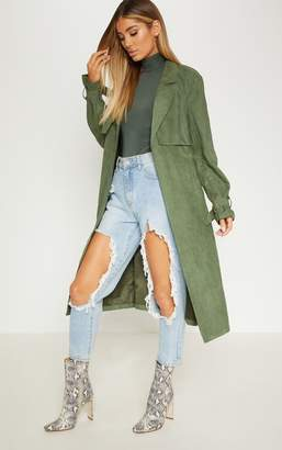 PrettyLittleThing Khaki Faux Suede Trench