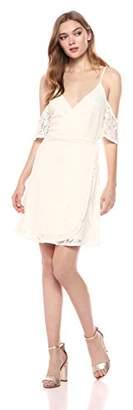 Romantic Dreamers Women's Surplice Neckline Cold Shoulder Lace Wrap Dress