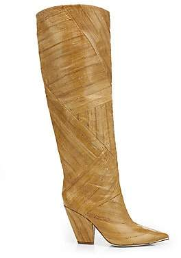 Tory Burch Women's Lila Patchwork Eel Leather Knee-High Boots