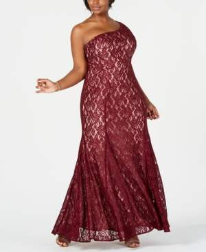 Night Way Nightway Plus Size One-Shoulder Glitter Lace Gown