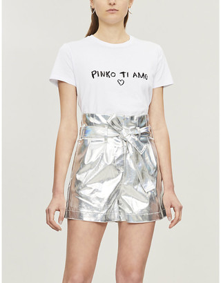 Pinko Laminated cotton-blend shorts