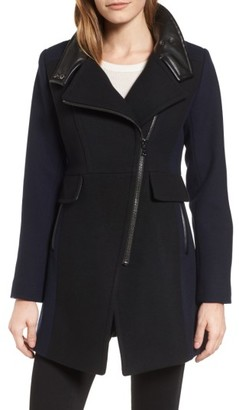 Women's Trina Turk Eleanor Leather Trim Wool Blend Coat $495 thestylecure.com