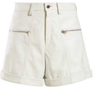 Isabel Marant Cedar Leather Shorts - Womens - White