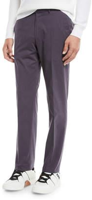Ermenegildo Zegna Men's Twill Flat-Front Trousers, Purple