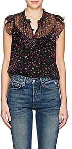 Barneys New York Women's Floral Silk Georgette Blouse - Black