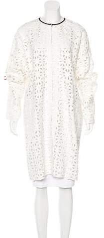 MSGM Open Knit Longline Coat