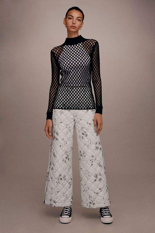 **Floral Quilted Awkward Cropped Trousers by Boutique