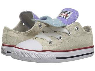Converse Chuck Taylor(r) All Star(r) Double Tongue Star Perf Canvas Ox (Infant/Toddler)