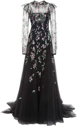 Monique Lhuillier Ruffled Embroidered Gown