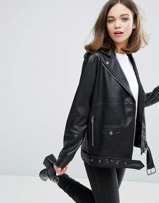 Monki Faux Leather Biker Jacket