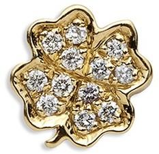 Loquet London 18k yellow gold diamond four leaf clover charm - Luck