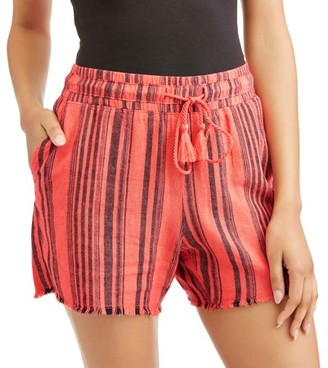 Time and Tru Time and True Women's Linen Shorts with Drawstring Waist
