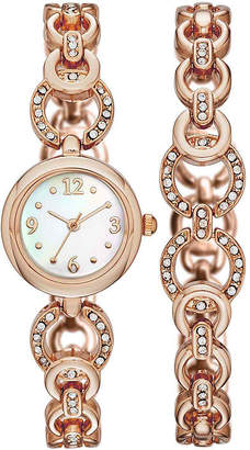 JCPenney FASHION WATCHES Womens Crystal-Embellished Open-Link Watch and Bracelet Set