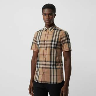 Burberry Short-sleeved Check Stretch Cotton Shirt , Size: XXL, Brown