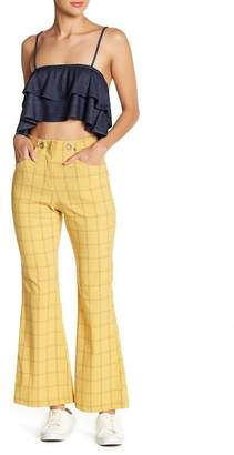 Love + Harmony Plaid Print Flare Pants