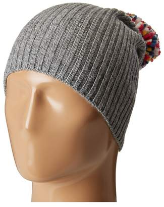 Hat Attack Lightweight Rib Watch Cap with Knit Pom Caps