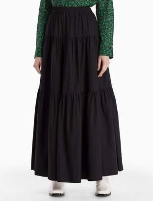 Calvin Klein cotton woven tiered long skirt