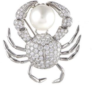 Tiffany & Co. Heritage  Platinum 2.75 Ct. Tw. Diamond & Pearl Crab Brooch