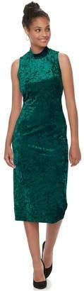 Almost Famous Juniors' Mockneck Velvet Bodycon Dress