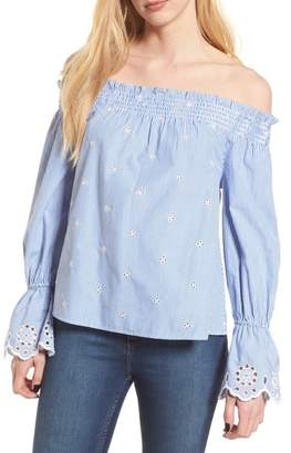 BP Off the Shoulder Schiffli Smocked Stripe Top