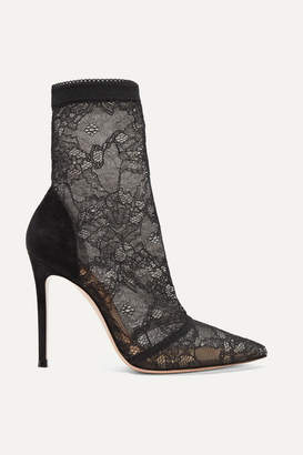 Gianvito Rossi 105 Stretch-lace And Suede Sock Boots