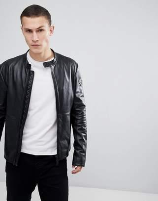 Emporio Armani Leather Biker Jacket In Black