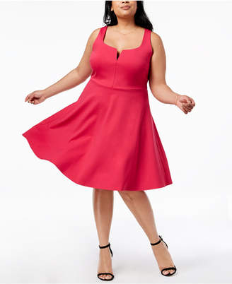 Soprano Trendy Plus Size Split-Neck Fit & Flare Dress