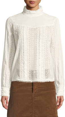Frame Embroidered Lace High-Neck Blouse