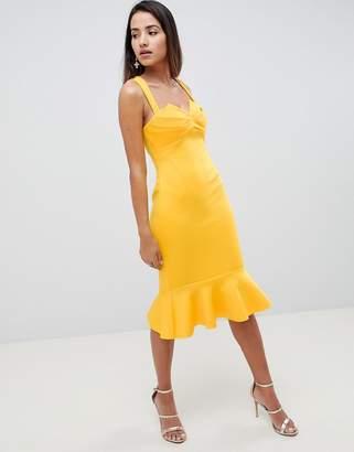 Asos Design DESIGN square neck fold front midi dress with pephem