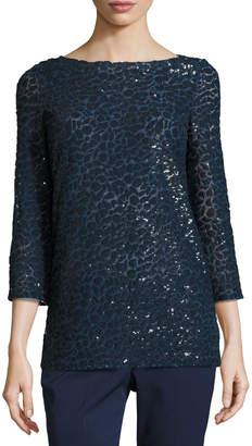 Michael Kors Sequined Boat-Neck Tunic, Navy