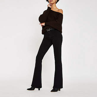 River Island Black high rise flared jeans