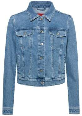 Regular-fit jacket in stretch denim with chest pockets