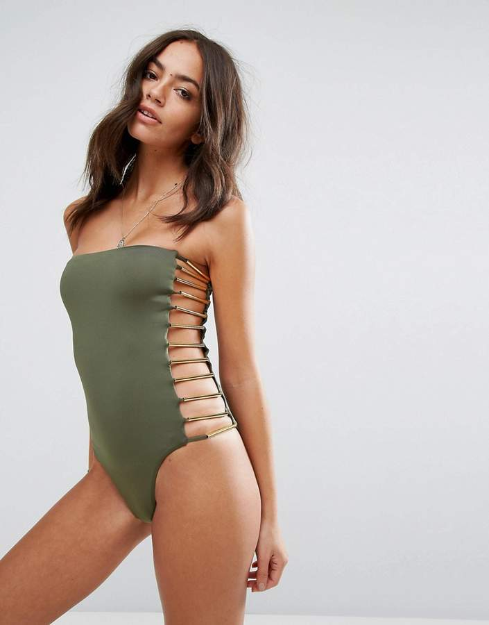 Blue Life Cut Out Swimsuit With Hardware