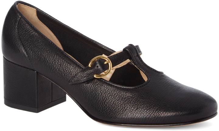 Amalfi By Rangoni Black Buckle-Accent Ticinese Leather Pump