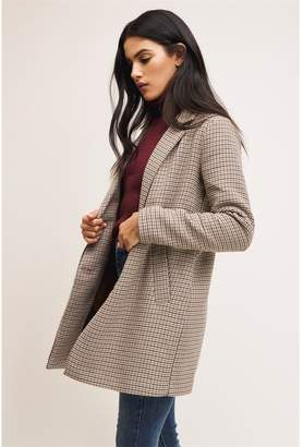 Dynamite The Yaletown Textured Coat Brown Plaid