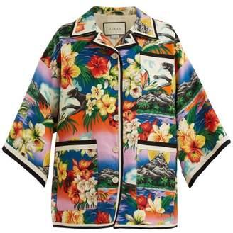 Gucci Hawaiian Print Oversized Linen Jacket - Womens - Multi