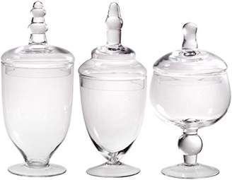 clear Palais Glassware Glass Apothecary Jars - Set of 3 - Wedding Candy Buffet Containers (Small