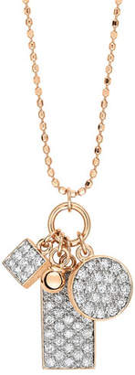 ginette_ny Ever 18k Rose Gold Diamond 3-Charm Necklace