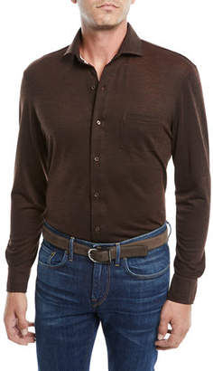 Isaia Men's Merino Wool Pique Long-Sleeve Pocket Shirt