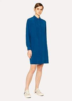 Paul Smith Women's Cobalt Blue Pleat-Front Silk Shirt Dress