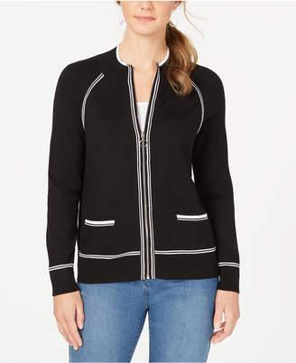 Charter Club Petite Contrast-Trim Sweater Jacket