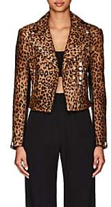 Alexander Wang Women's Leopard-Print Calf Hair & Leather Moto Jacket - Neut. pat.