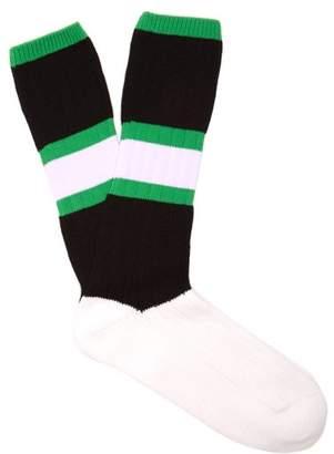 Marni Striped Cotton Blend Socks - Mens - Black Green