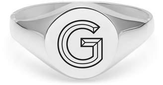 Myia Bonner Silver G Facett Initial Signet Ring