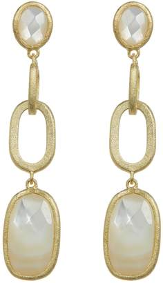 Rivka Friedman Faceted Mother of Pearl Satin Link Post Earrings