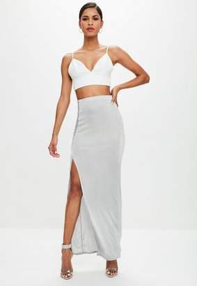 Missguided Grey Slinky Split Maxi Skirt