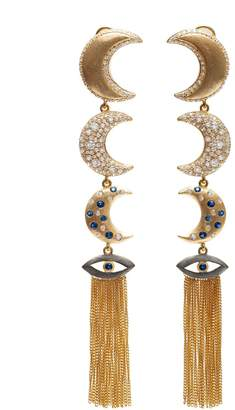 AMMANII - The Guardian Linear Moons With Tassels Earrings Vermeil Gold
