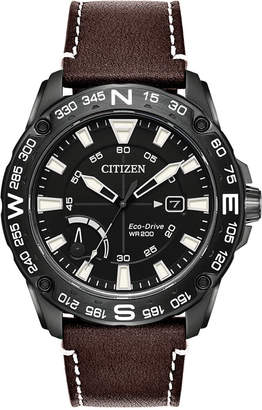 Citizen Eco-Drive Men's Brown Leather Strap Watch 44mm