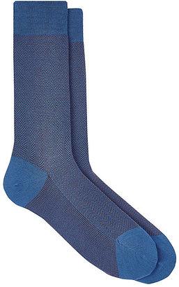 Barneys New York Men's Herringbone Mid-Calf Socks $35 thestylecure.com