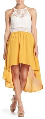 KENEDIK Crochet To Crepon High/Low Dress